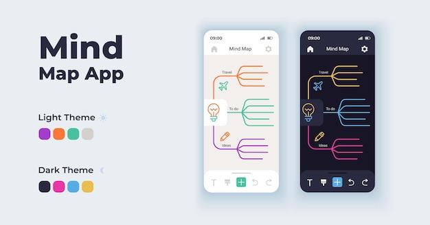 Ensemble de modèles d'interface de smartphone de dessin animé d'outil de remue-méninges. carte mentale.