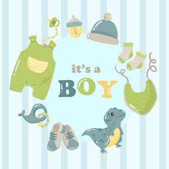 Ensemble de modèles d'invitation de douche de bébé de vecteur de cadre d'élément de bébé garçon
