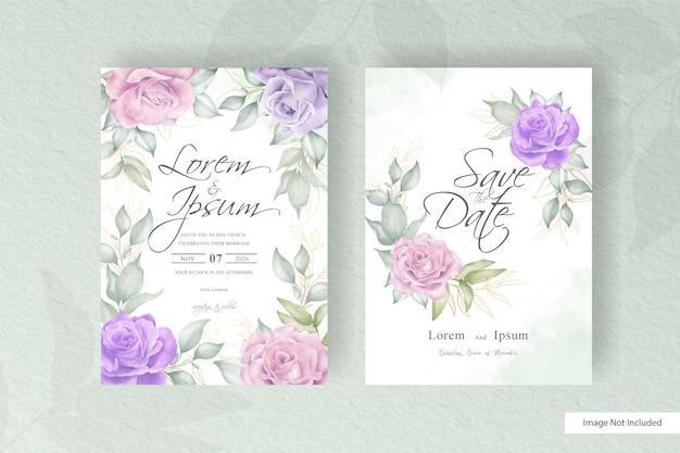 Ensemble de modèles d'invitation de mariage élégant cadre floral avec arrangement floral aquarelle dessiné à la main