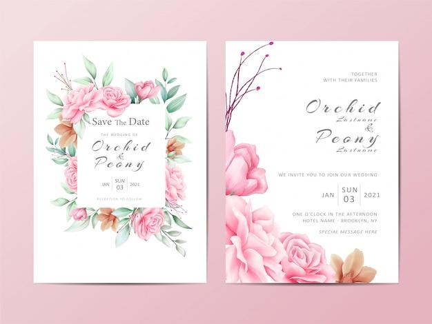 Ensemble de modèles d'invitation de mariage feuillage de fleurs roses aquarelle