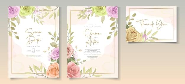 Ensemble de modèles d'invitation de mariage floral doux