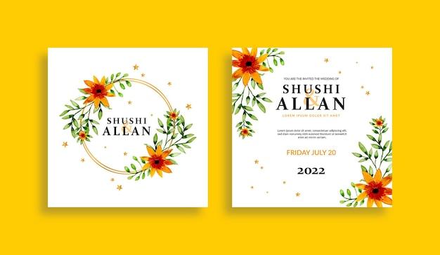 Ensemble de modèles d'invitation de mariage floral fleurs et feuilles aquarelles