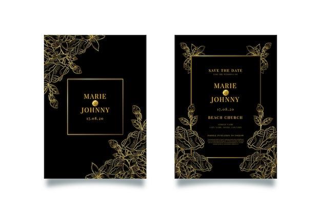 Ensemble de modèles d'invitation de mariage de luxe