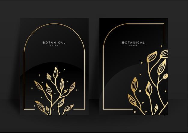 Ensemble de modèles d'invitation de mariage noir et or. ensemble de fond de conception florale abstraite. papier peint de luxe de style moderne avec fleur d'art et feuilles botaniques, formes organiques