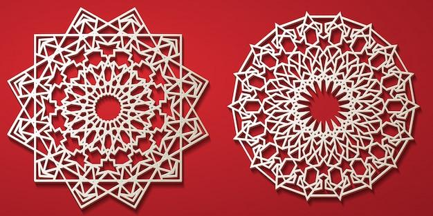 Ensemble de modèles de l'islam. les éléments de conception peuvent être utilisés pour la carte de voeux ramadan kareem ou l'invitation eid mubarak.
