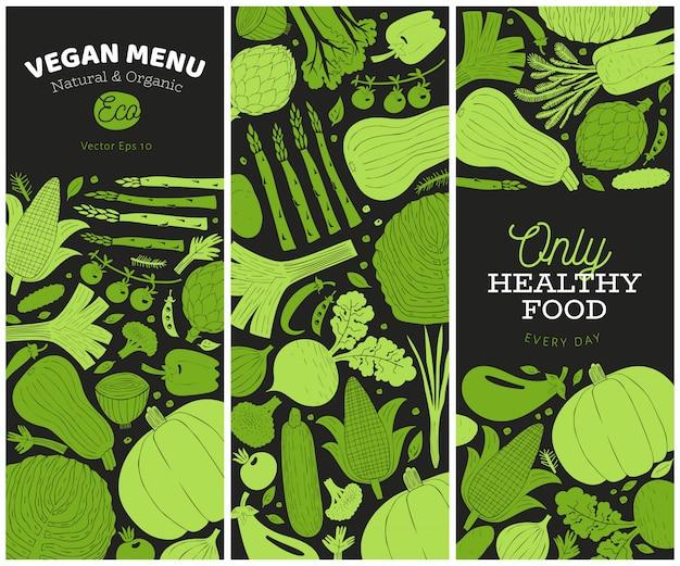 Ensemble de modèles de légumes dessinés à la main