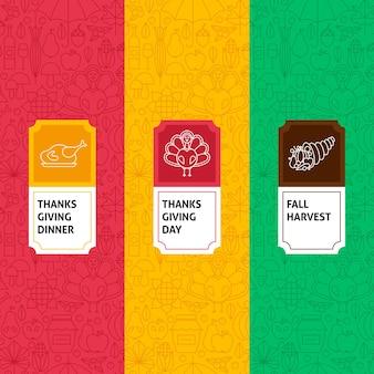 Ensemble de modèles de ligne de thanksgiving. illustration vectorielle de la création de logo. modèle d'emballage avec étiquettes.