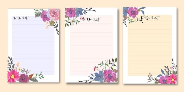 Ensemble de modèles de liste de tâches florales