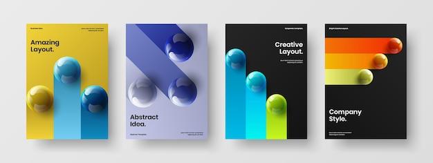 Ensemble de modèles de livret d'orbes 3d colorés
