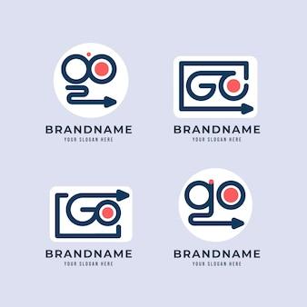 Ensemble de modèles de logo aller design plat