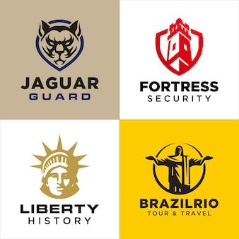 Ensemble de modèles de logo d'animaux et de bâtiments