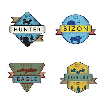 Ensemble de modèles de logo d'animaux de la forêt
