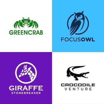 Ensemble de modèles de logo d'animaux