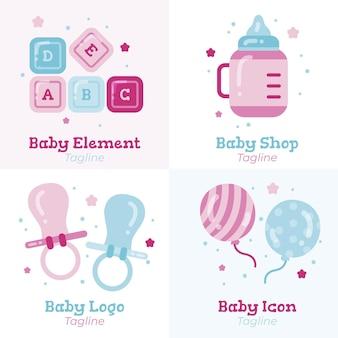 Ensemble de modèles de logo bébé mignon détaillé