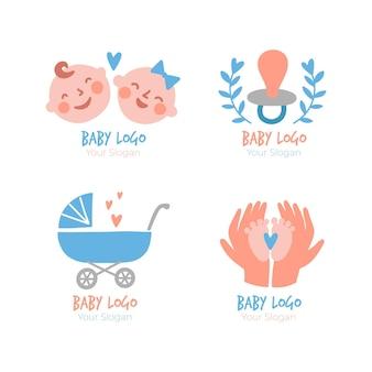 Ensemble De Modèles De Logo Bébé Mignon Vecteur Premium