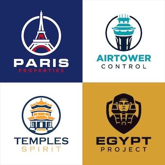 Ensemble de modèles de logo de construction