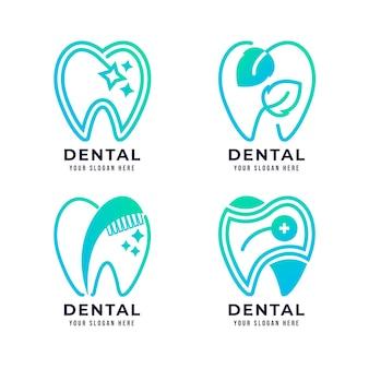 Ensemble de modèles de logo dentaire dégradé