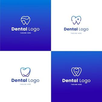 Ensemble de modèles de logo dentaire design plat