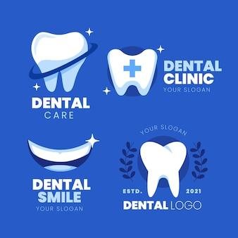 Ensemble de modèles de logo dentaire plat