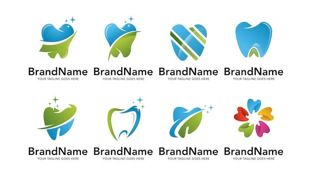 Ensemble de modèles de logo de dentiste dentaire