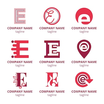 Ensemble de modèles de logo design plat e