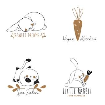 Ensemble de modèles de logo dessinés à la main avec des chats et des lapins