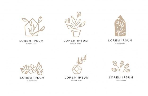 Ensemble de modèles de logo floral abstrait