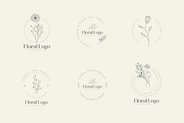 Ensemble De Modèles De Logo Floral Féminin Dessinés à La Main Vecteur Premium