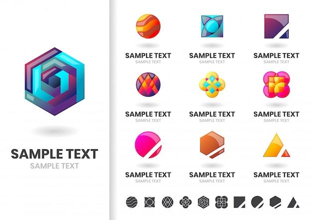 Ensemble de modèles de logo ou de logo de forme moderne