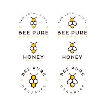 Ensemble de modèles de logo de miel d'abeille