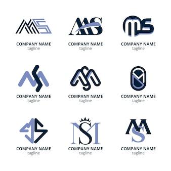 Ensemble de modèles de logo ms design plat