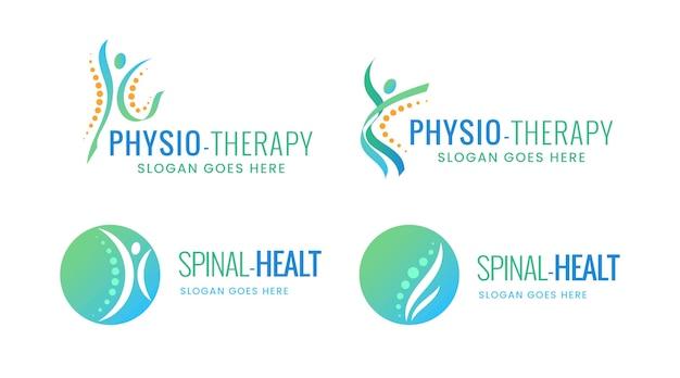 Ensemble de modèles de logo de physiothérapie en dégradé