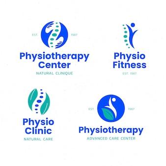 Ensemble de modèles de logo de physiothérapie plat
