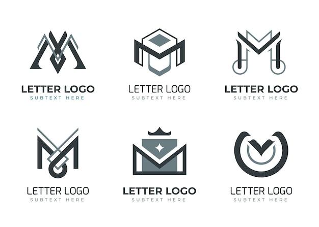 Ensemble De Modèles De Logo Plat M Vecteur gratuit