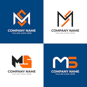 Ensemble de modèles de logo plat ms