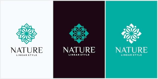 Ensemble de modèles de logo de produits naturels et biologiques modernes, de logo et d'emblème dans un concept cosmétique floral et naturel de style nature linéaire à la mode et un symbole de médecine alternative