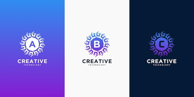 Ensemble de modèles de logo de technologie créative