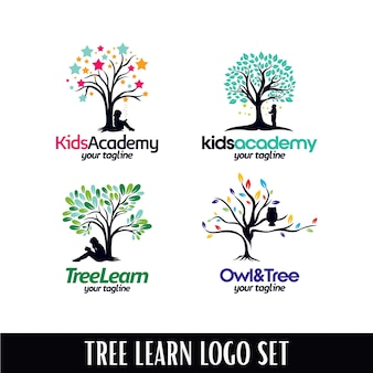 Ensemble de modèles de logo tree academy designs