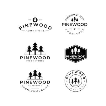 Ensemble de modèles de logo vintage simple en bois de pin