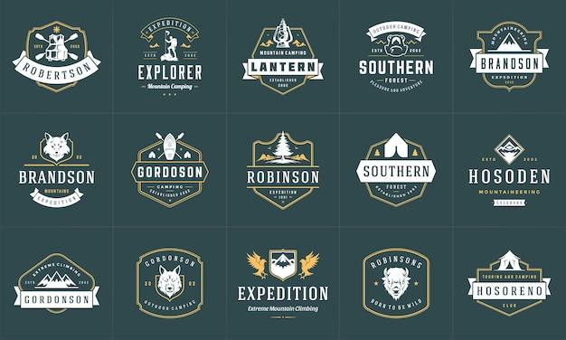 Ensemble de modèles de logos et badges de camping