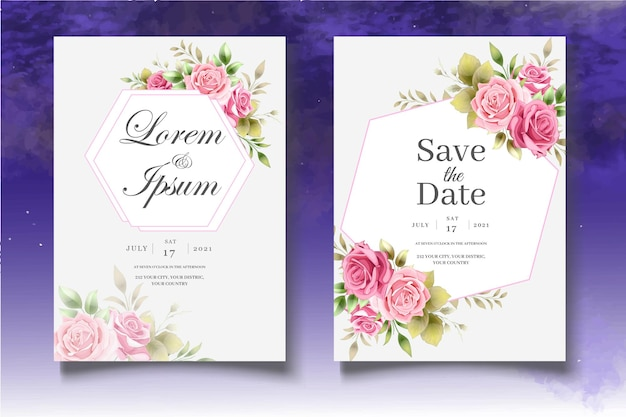 Ensemble de modèles de mariage floral de dessin à la main