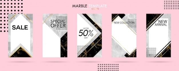 Ensemble de modèles de médias histoires histoires avec la texture de marbre tendance de luxe
