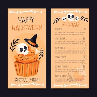 Ensemble de modèles de menu aquarelle halloween