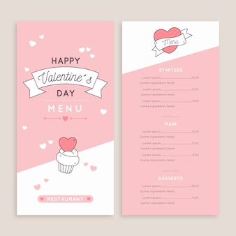 Ensemble de modèles de menu de conception plate saint valentin
