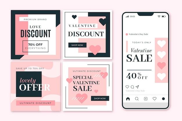 Ensemble de modèles de messages de vente modernes pour la saint-valentin