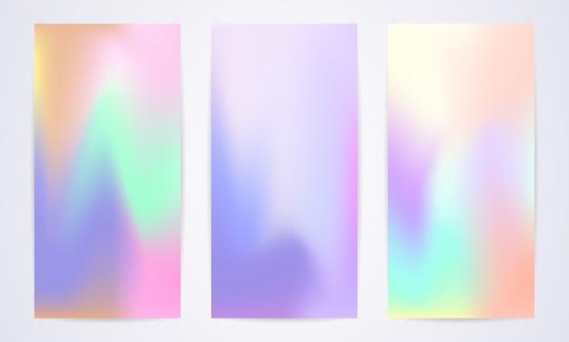 Ensemble de modèles modernes fluides avec des nuances irisées de différentes couleurs pastel.
