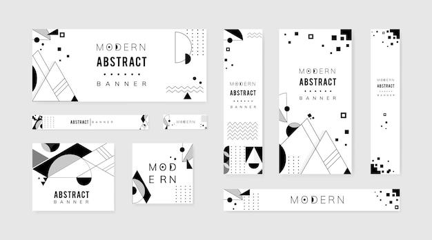Ensemble de modèles noir et blanc moderne abstrait