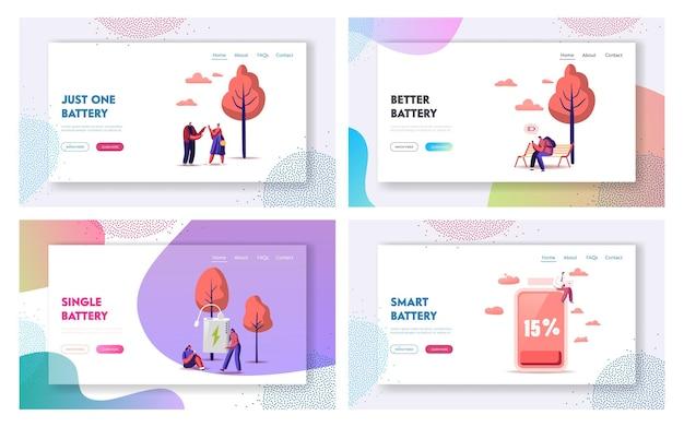 Ensemble de modèles de page de destination de batterie faible. les personnages chargent les appareils, les téléphones mobiles et les gadgets.