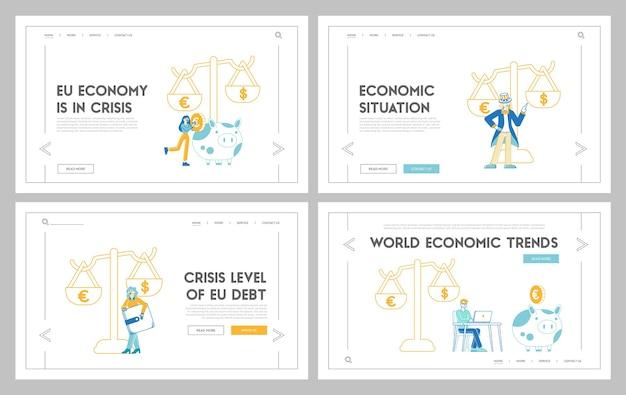 Ensemble de modèles de page de destination euro contre dollar