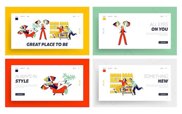 Ensemble de modèles de page de destination pour les personnages accros du shopping.